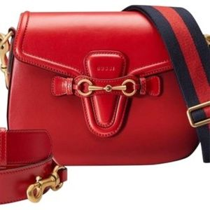NEW Gucci Lady Web New Red Leather Cross Body Bag